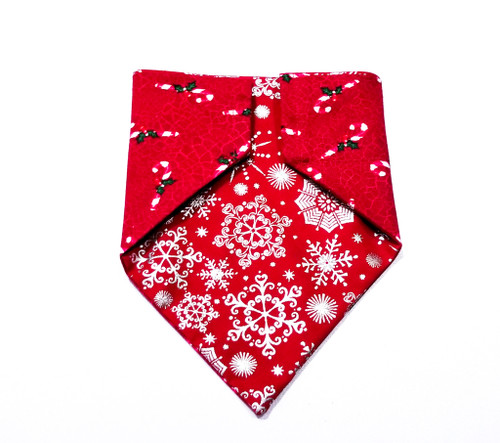 Snowflakes and Candy Canes Christmas Dog Bandana