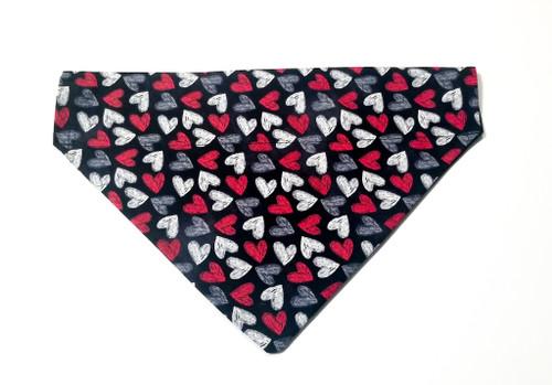 Valentine's Day Chalk Hearts No-Tie Dog Bandana