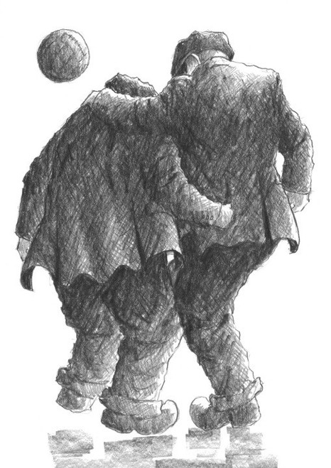 He's Fitba Crazy is a signed limited edition print of the original drawing by Scottish artist Alexander Millar.