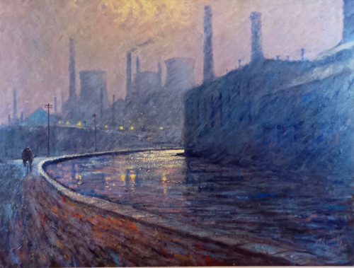 The Lights of My Youth is an original oil painting from Alexander Millar's Working Man Collection.
