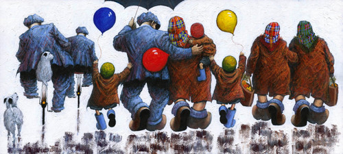 Mams Dads Aunties and Uncles is a print of the painting by Scottish artist Alexander Millar, recalling times when family friends made any excursion an adventure!