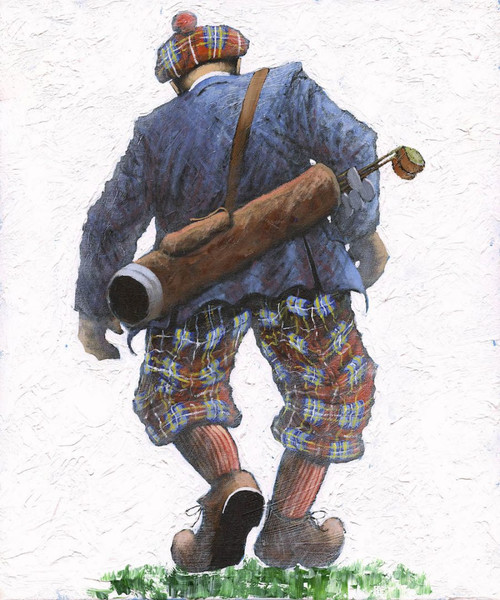 Firawy to Haeven is a print of the original painting by Scottish artist Alexander Millar. It recalls how before the likes of golf buggies and golf carts to ferry us around the course.