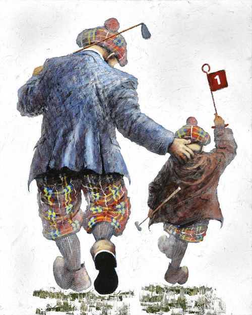 Pitch and Putt is a print of the original painting by Scottish artist Alexander Millar. It recalls how he cut his or her teeth on the local pitch and putt course in Kilmarnock