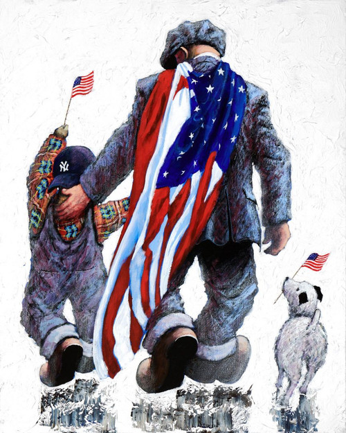 This orginal Alexander Millar artwork depicts Everday Heroes, when the firefighter's uniform has been laid aside and the real man or woman steps out and appears the unassuming everyday citizen in the street.