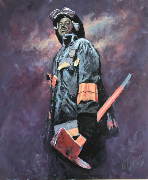 This Alexander Millar original painting conveys his admiration for firefighters of all ethnicities within the US who make such a commitment to serving and protecting their communities.