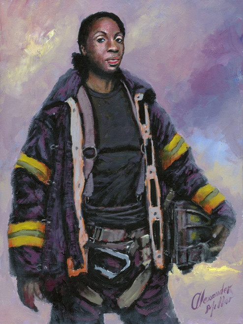 This Alexander Millar original painting is of Tracy Lewis, highlighting the courage shown not only by male firefighters but also by female firefighters in NYC.