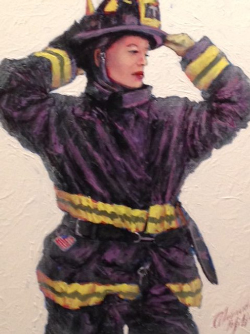 This original oil painting from the Everday Heroes collection conveys the strenght and determination of the female firefighters of FDNY.