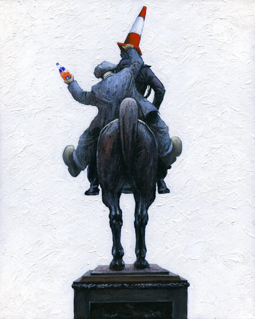 This signed limited edition of the Alexander Millar painting - Now Ye Know explains how the traffic cone magically appears on the Duke of Wellington statue outside Glasgow's Museum of Modern Art.