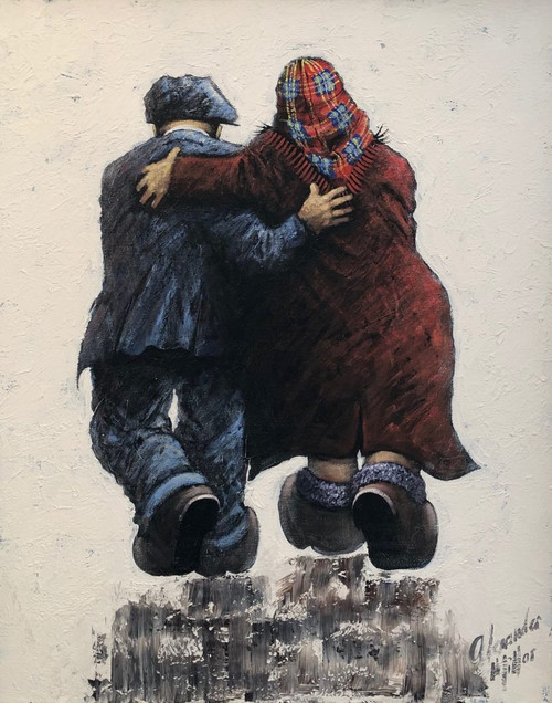This original oil by Alexander Millar shows that beneath their brusque exteriors, his parents worked as team in perfect partnership to make the most of simple pleasures.