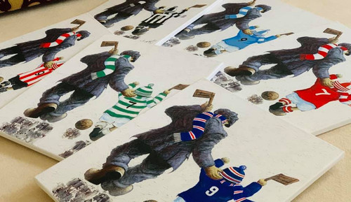 Each piece is hand painted and embellished based on the clients' requests: football scarf and team shirt colour/style, team number and name.