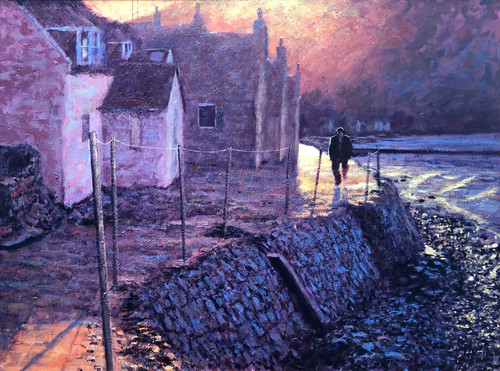 This orginal oil painting by Alexander Millar is based on family holiday to the Morayshire (Scotland) fishing village of Crovie.
