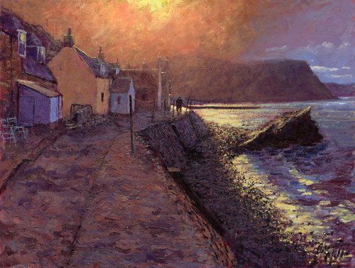 After the Storm, Crovie is a signed, limited edition print of the original oil painting by Scottish artist Alexander Millar, might be mounted and framed.