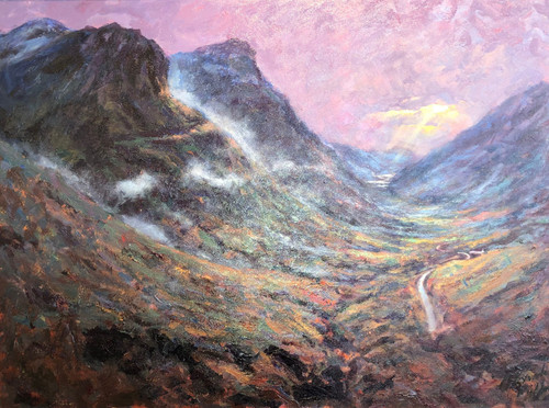 is orginal oil painting by Alexander Millar convey hows that contrary weather can create a sense of beauty and awe in Glencoe