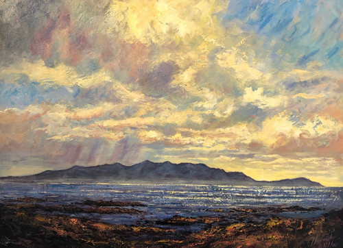 Alexander Millar's signed limited edition print on paper and  canvas depicts the 'Sleeping Warrior' - the brooding and magnificent Isle of Arran.
