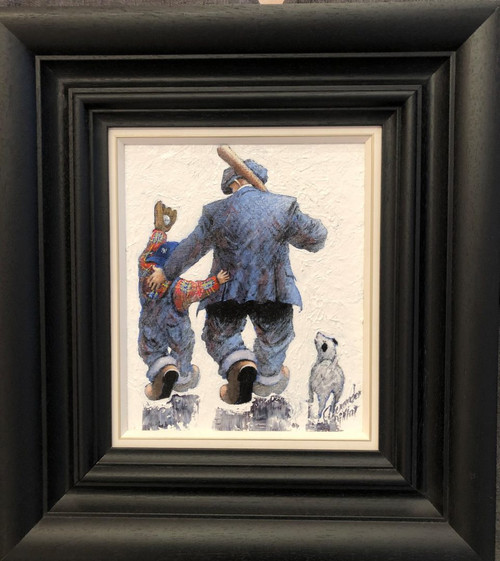 Alexander Millar returns to the father and son relationship in this orginal oil painting. Like football in the UK, baseball in America is the sport that is a great leveller and one that most participate in from an early age