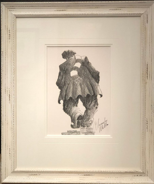 In this original pencil drawing by Alexander Millar, the artist conveys the feeling of the trudge home when your football team lost the match.