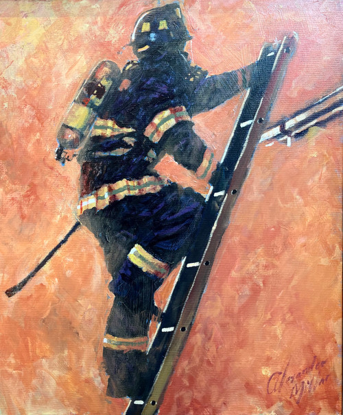 WHO DARES WINS IS AN ORIGINAL OIL PAINTING OF A FDNY FIREFIGHTER BY Alexander Millar.