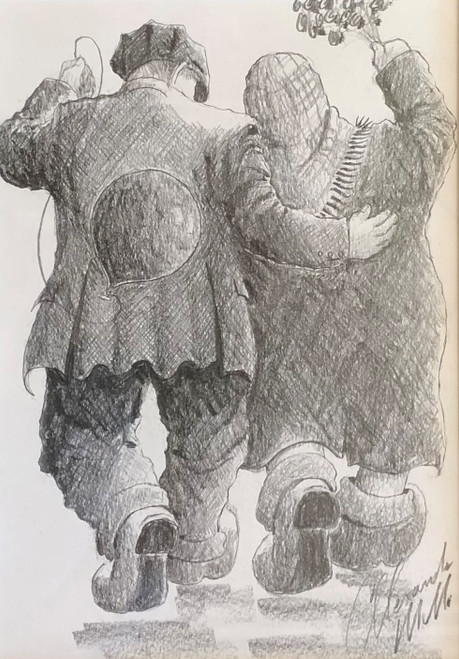 Say It With Flowers III is an original framed drawing based on Scottish artist Alexander Millar's painting of the same name
