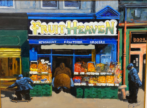 Fruit Heaven is an original oil painting of Leith by Scottish artist Alexander Millar.