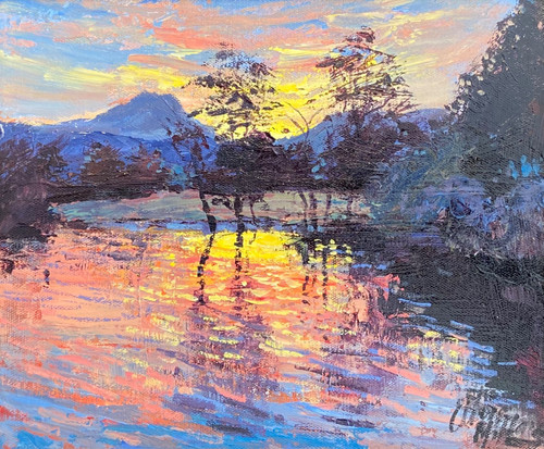 Sunset Over Loch Ard is an original oil painting by Scottish artist Alexander Millar.