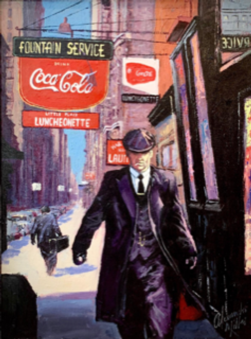 The Done Deal, set in New York City, is a signed, limited edition print of the original oil painting by Alexander Millar.