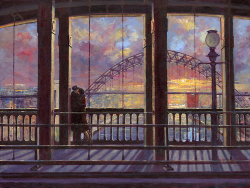 Stay with Me till Dawn, set in Newcastle, is an orginal oil painting by Alexander Millar.