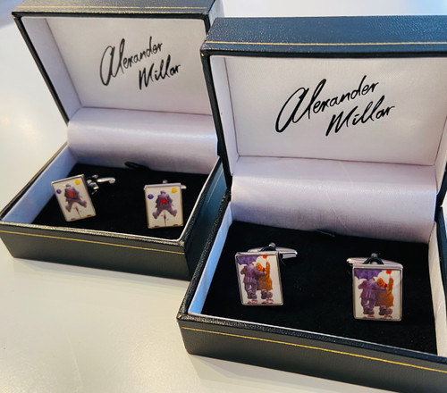 Gadgie cufflinks portray two Alexander Millar Paintings - Happy days and Say it With Flowers