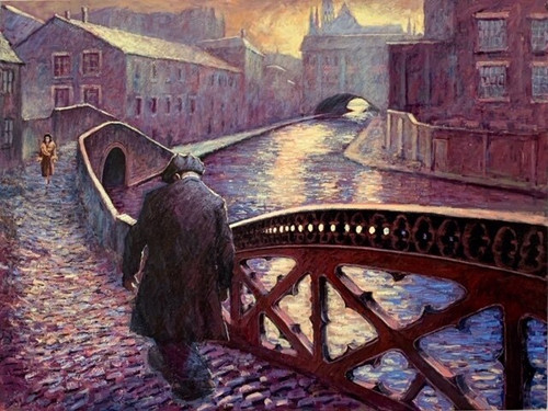 Along the Canal, set in Birmingham, is a signed, limited edition print of the original oil painting by Alexander Millar.