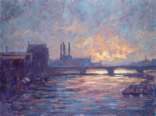 Battersea Sunset is a framed, signed limited editon print on canvas of the original paintingby Alexander Millar