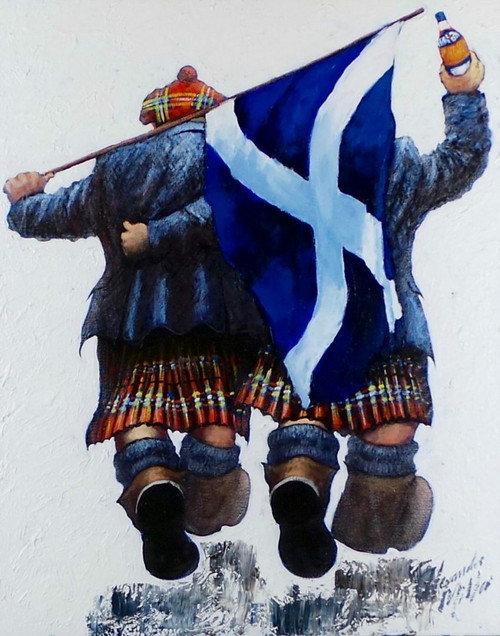 Tartan Army Cheers is a signed limited edition print in two sizes, based on the original painting by Alexander Millar.