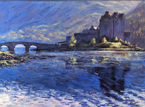 This signed limited edition print by Alexander Millar depicts Eilean Donan's unique location on the junction of three sea lochs close to the Isle of Skye.