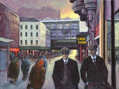 The Boys are Back in Town, set in Glasgow, is a signed, limited edition print of the original oil painting by Alexander Millar.
