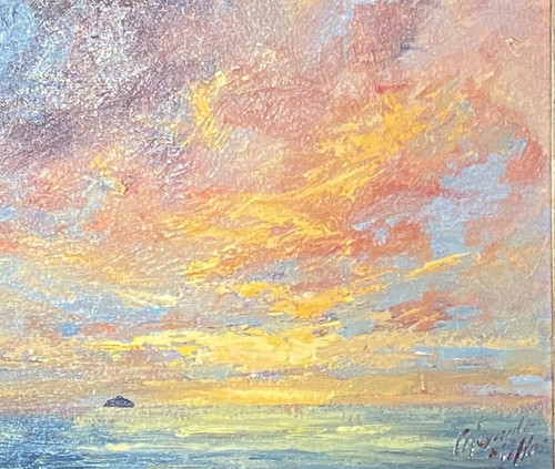Harvest Sky, Ailsa Craig is a framed, original oil painting by Ayshire born artist Alexander Millar.