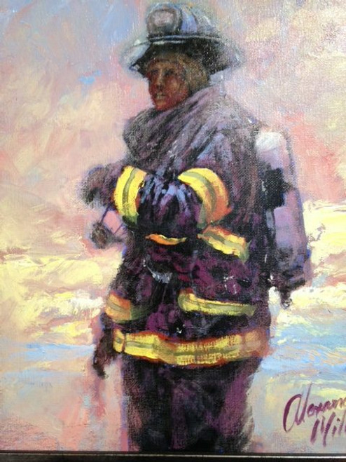 An Alexander Millar original painting of oil on canvas of one of New York's bravest.
