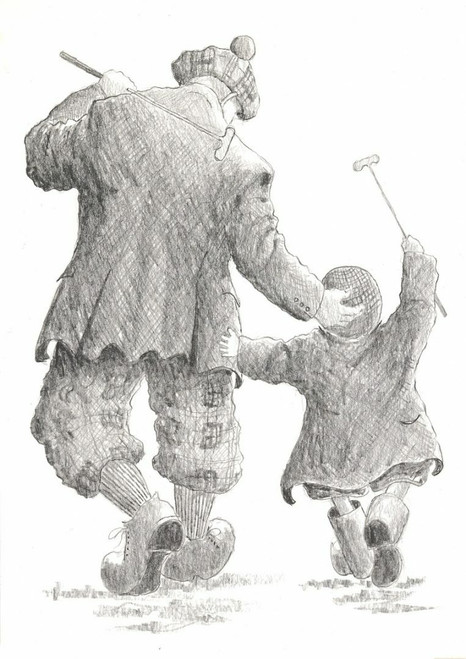 Limited edition print by acclaimed Scottish artist Alexander Millar - of father and son golfers celebrating a hole in one at the putting green.