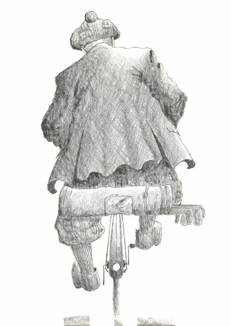 Scottish artist Alexander Millar's print of Fairway Flyer recreates a scene of an old fella with his golf bag strapped to the back on his way to the course.