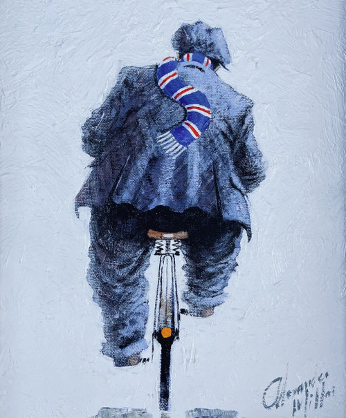 Parkhead Bound is an original oil painting by Scottish artist Alexander Millar.