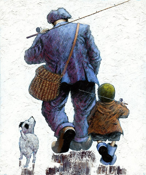 Memories of My Dad is a signed, limited edition, Giclee print of the original oil painting by Alexander Millar.