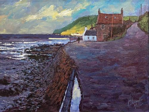 Summer Haven Crovie is a framed, original oil painting by Scottish artist Alexander Millar.