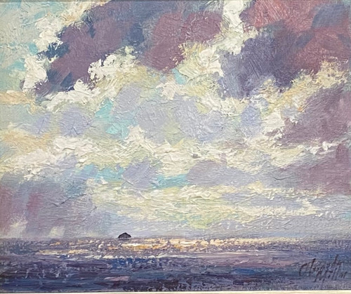 Parting Skies, Ailsa Craig ia an original oil painting by Alexander Millar.
