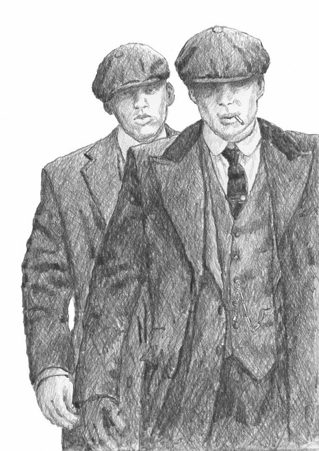 Double Trouble is signed, limited edition print of the original drawing by Scottish artist Alexander Millar and portrays the Shelby brothers  the BBC TV series Peaky Blinder.