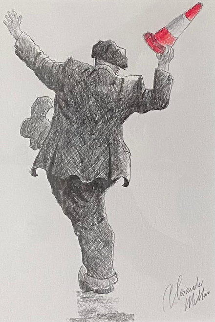 Party For One is a framed, original pencil drawing by Alexander Millar.