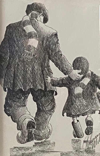 We're Going This Time is a framed, original pencil drawing by Alexander Millar.