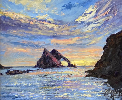 Bow Fiddle Rock is a framed, original oil painting by Alexander Millar.