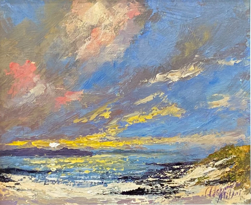 White Sands, Isle of Lewis is a framed, original oil painting by Alexander Millar.