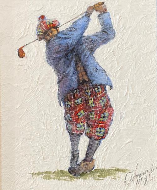 Full Swing is an original oil painting by Scottish artist Alexander Millar.