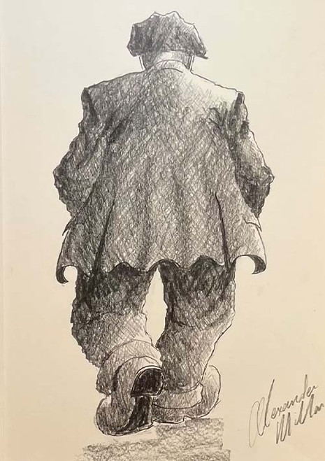 Deep In Thought is a framed, original pencil drawing by Alexander Millar.