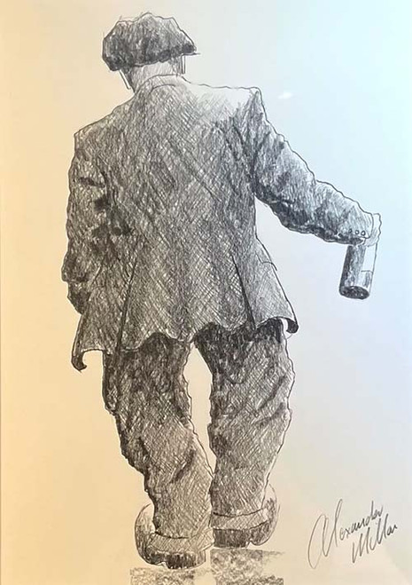 One For The Road is a framed, original pencil drawing by Alexander Millar.