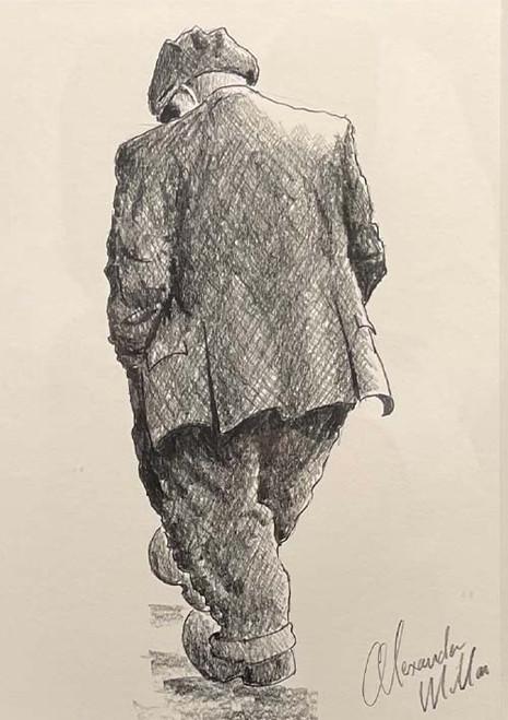 Best Foot Forward is a framed, original pencil drawing by Alexander Millar.