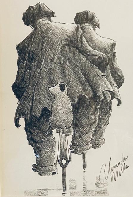 No Walkies for Three is an original pencil drawing by Alexander Millar.